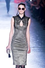 Jason Wu Fall 2012 Sleeveless Pencil Dress With Mandarin Collar and Seam Piping In Silver