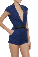 Mcq By Alexander Mcqueen Deep Neckline Short Jumpsuit in Blue - Lyst
