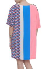 Msgm Geometric Print Silk Multicolor Dress in Multicolor - Lyst