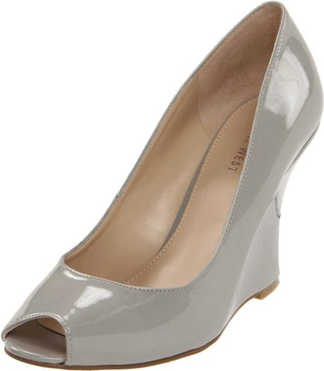 Nine West Womens Ampedup Wedge Pump in Gray (grey patent synthetic) - Lyst