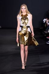 Prabal Gurung Fall 2012 Sleeveless Coctail dress in Gold Lamé with Sheer Ruffled Inserts - Lyst