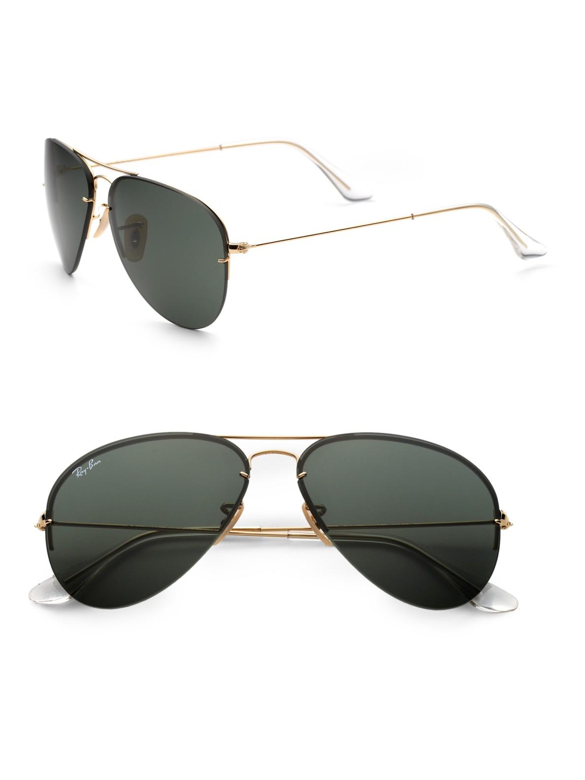 9ca5f64ddb5c2 Ray-Ban Interchangeable Lens Aviator Sunglasses in Metallic - Lyst