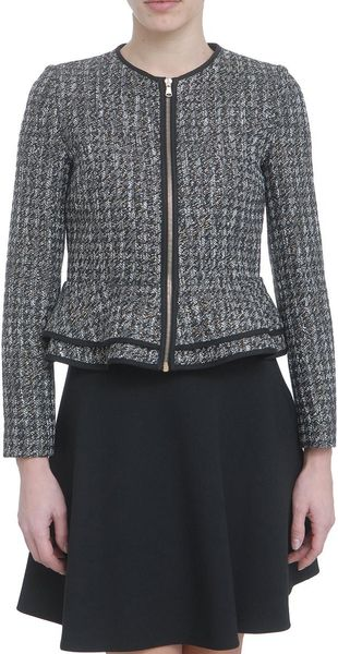 Red Valentino Lurex Oro Pied De Poule Jacket in Gray - Lyst