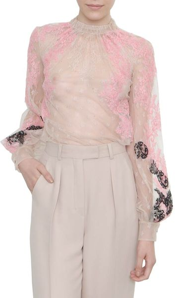 Valentino Embroidered Lace Shirt in Pink - Lyst