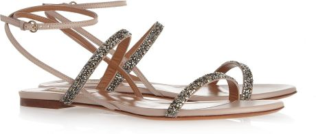 Valentino Crystal-embellished Leather Sandals in Silver (rose) - Lyst