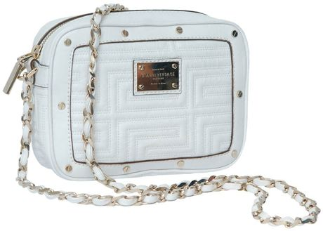 Versace Leather Mini Bag with Gold Shoulder Strap in White (gold)