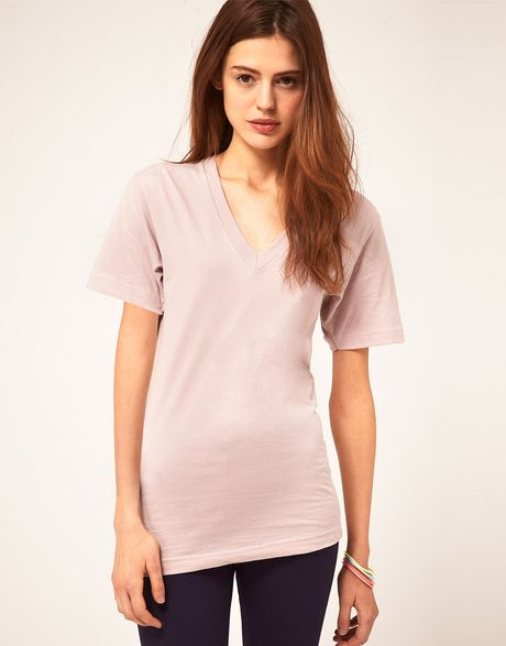American apparel v neck t shirt in pink mauve lyst for American apparel t shirt design