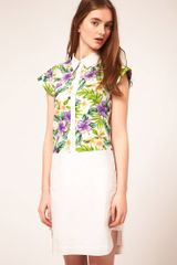 ASOS Collection Asos Shirt Dress with Tropical Print Panel
