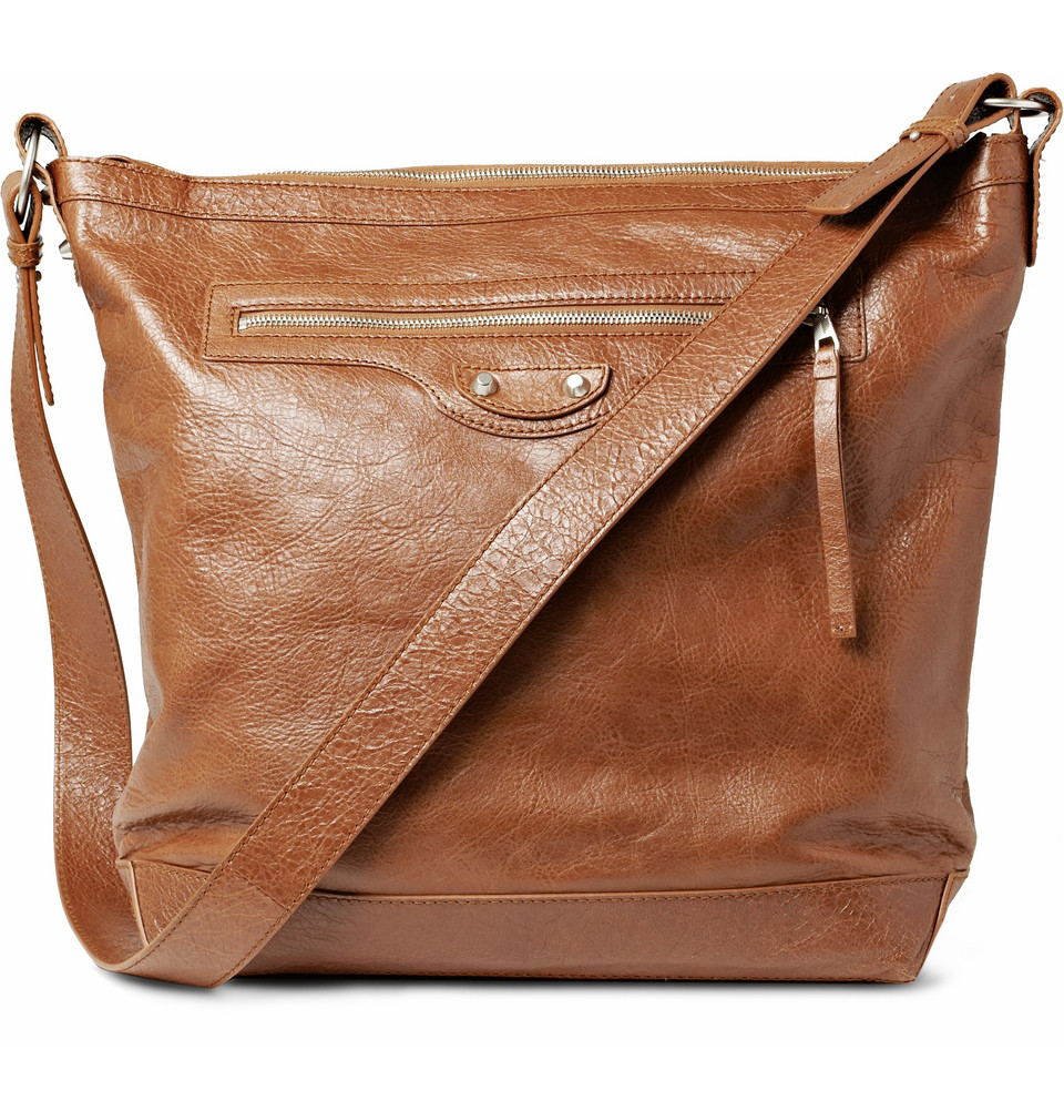6124a400eeb7 Lyst - Balenciaga Leather Messenger Bag in Brown for Men