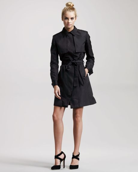 Jason Wu Kelly Belted Silk Trench Dress in Black - Lyst