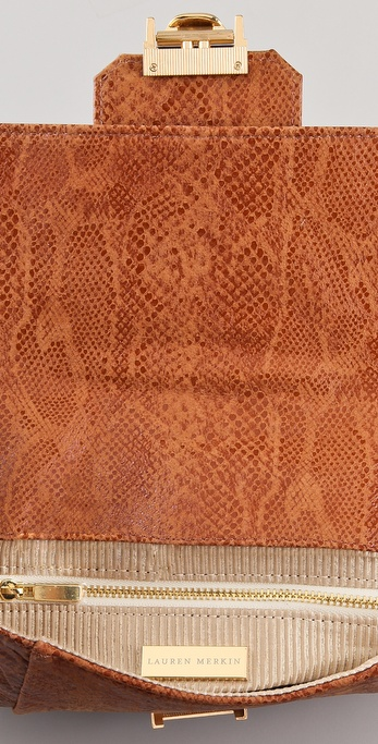 e120ad90aaba Lyst - Lauren Merkin Blair Glossy Python Clutch in Brown