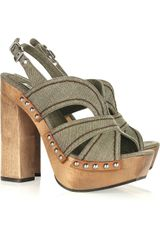 Miu Miu Canvas and Wooden Platform Sandals - Lyst