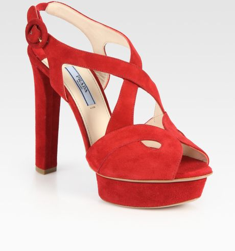 Prada Suede Criss Cross Platform Sandals in Red (cherry) - Lyst