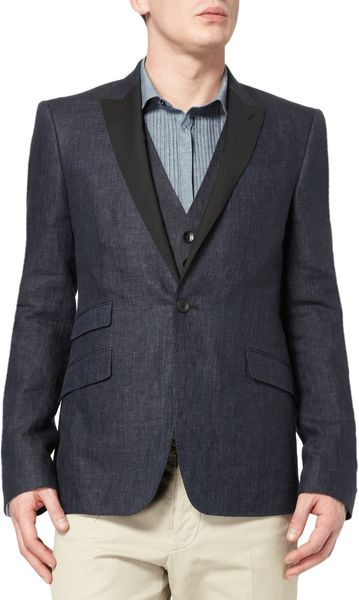 Rag Amp Bone Midnight Contrast Lapel Linen Blazer In Blue