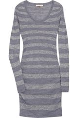 Rebecca Taylor Metallic Striped Knitted Dress - Lyst