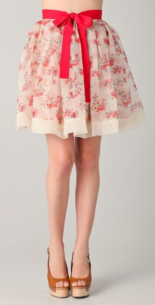 RED Valentino Floral Skirt - Lyst