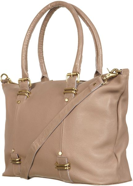 Topshop Metal Bar Leather Holdall in Beige (putty) - Lyst