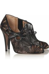 Valentino Leather-trimmed Lace Ankle Boots - Lyst