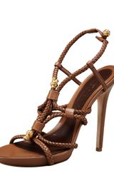 Alexander Mcqueen Braided High Heel Sandal in Brown - Lyst