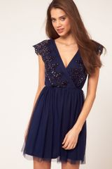 Asos Collection Asos Skater Dress with Embroidery in Blue (navy) - Lyst
