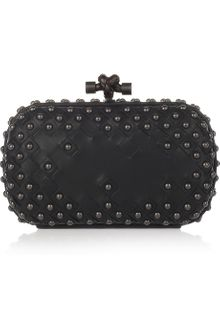 Bottega Veneta Studded Intrecciato Leather Knot Clutch - Lyst