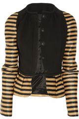 Burberry Prorsum Crepe and Striped Raffia Jacket - Lyst