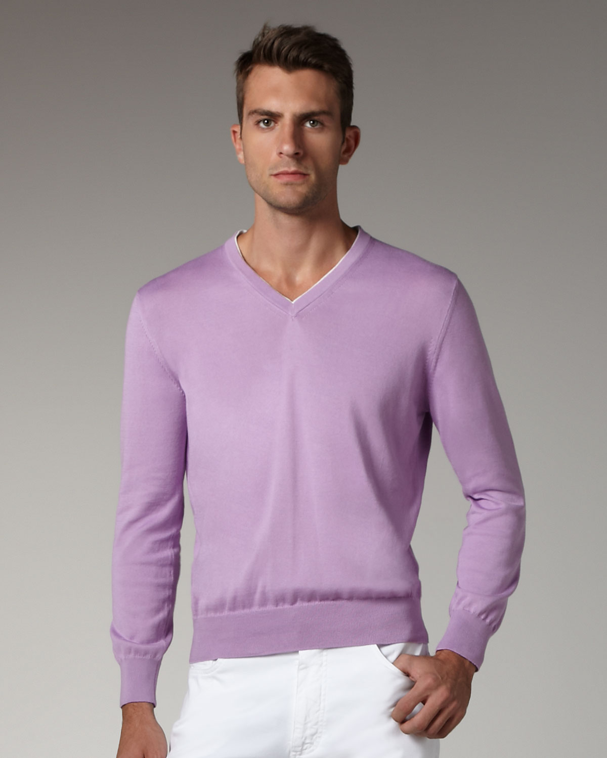 Ermenegildo zegna Contrast-inset Sweater, Lavender in Purple for ...