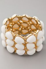 Kenneth Jay Lane White Cabochon & Crystal Hinged Cuff - Lyst