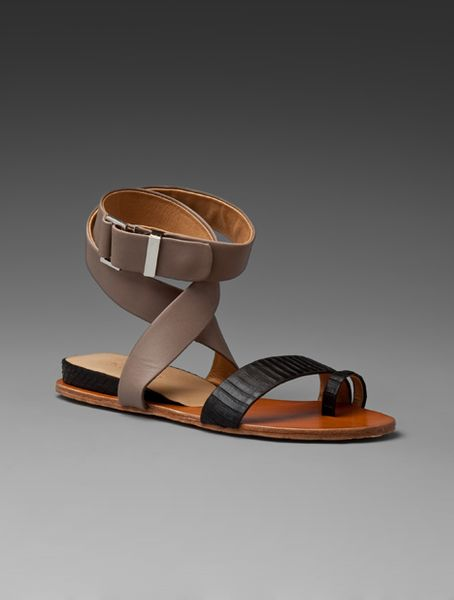 L.a.m.b. Myra Sandal in Elephant/black in Gray (elephant & black) - Lyst