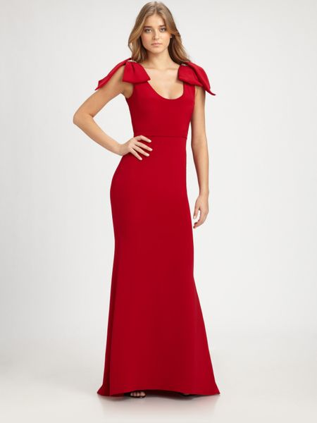 Notte By Marchesa Silk Bow Gown in Red - Lyst