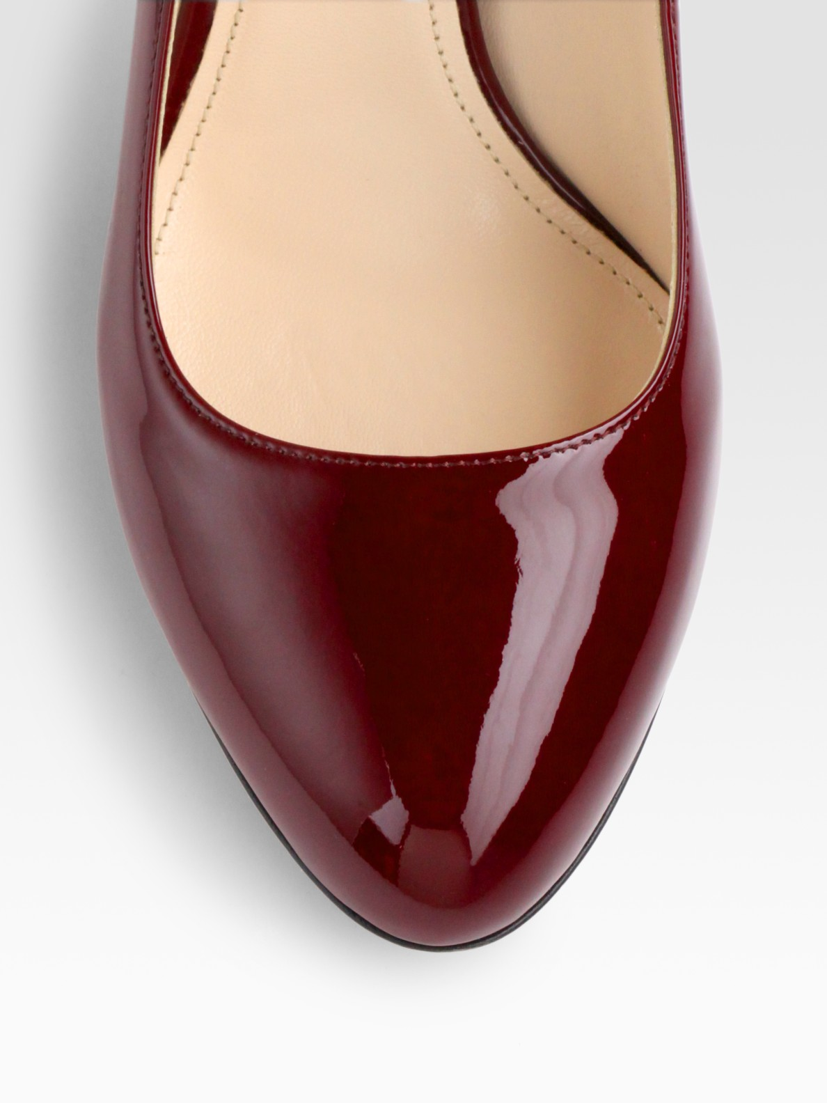 Prada Patent Leather Chrome Heel Pump in Red (black) | Lyst