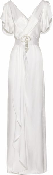 Temperley London Scarlett Crystal-embellished Silk-satin Gown in White