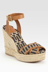 Tory Burch Florian Woven Leather-trim Espadrille Wedge Sandals - Lyst