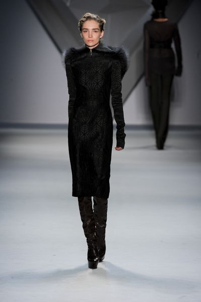 Vera Wang Fall 2012 Fur Trimmed Geometric Print Coat  in Black - Lyst