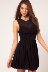ASOS Collection Asos Mesh Skater Dress with Twist Front - Lyst