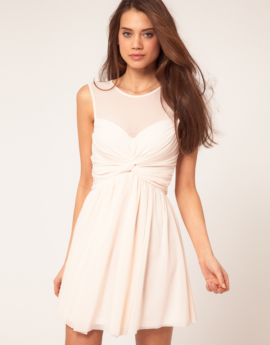 Asos Collection Asos Peplum Top In Sequin In Natural: Asos Collection Asos Mesh Skater Dress With Twist