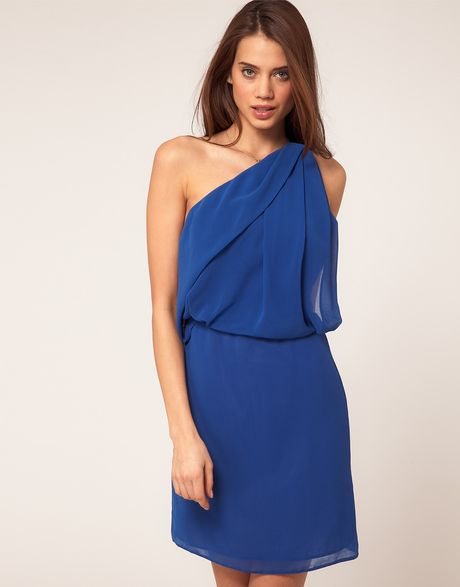 Asos Collection Asos One Shoulder Dress with Drape Front in Blue (miamiblue) - Lyst
