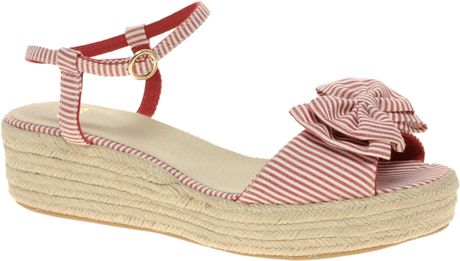 Asos Collection Asos Violet Flatforms with Bow in Pink (redwhitestripe) - Lyst