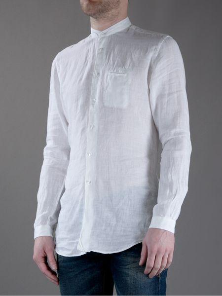 Fendi grandad collar shirt in white for men lyst Mens grandad collar shirt