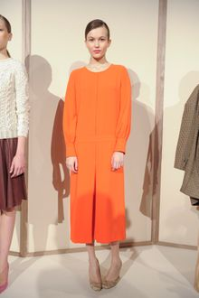 J.Crew Fall 2012 Long Sleeve Mid Length Crew Neck Dress With Front Pleat In Orange - Lyst