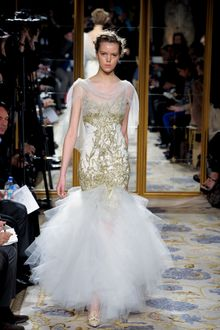 Marchesa Fall 2012 Cape Sleeve Evening Gown With Tulle Skirt, Golden Embroidery And Spaghetti Straps - Lyst