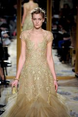 Marchesa Fall 2012 Nude Colour Sheer Tulle And Chiffon Gown With Short Sleeves And Golden Embroidery in Gold - Lyst