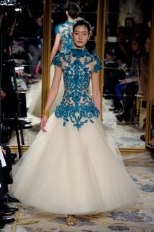 Marchesa Fall 2012 Short Sleeve Evening Dress With See Through Top With Blue Embroidery And Cream Layered Tulle Skirt  - Lyst