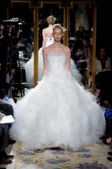 Marchesa Fall 2012 Strapless Corseted Evening Gown With Layered Chiffon In White - Lyst