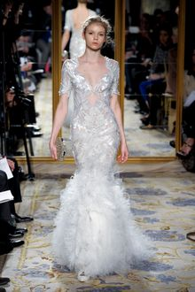 Marchesa Fall 2012 Feather Motif Lace Embroidered Gown WIth Fur Skirt  - Lyst
