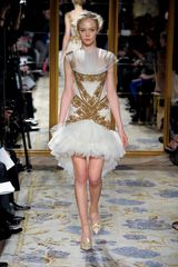 Marchesa Fall 2012 Gold Embroidered Mini Dress With Tulle Skirt - Lyst