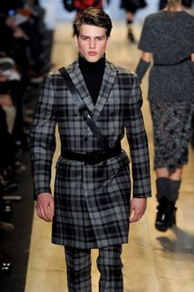 Michael Kors Fall 2012 Tartan Plaid Double Breasted Coat In Grey - Lyst