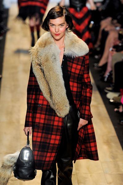 Michael Kors Fall 2012 Tartan Plaid Double Breasted Wool Coat In Red With Fur Collar  in Red (black) - Lyst