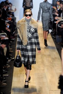 Michael Kors Fall 2012 Long Plaid Wool Single-Breasted Coat with Fur Embellished Collar - Lyst