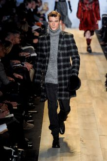 Michael Kors Fall 2012 Long Plaid Wool Single-Breasted Coat in Grey - Lyst